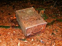 Rusty metal canister in nature Stock Images