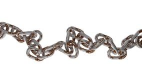 Rusty metal chain on white background. Metal chain on white background Royalty Free Stock Images