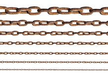 Rusty metal chains. Isolated on white royalty free stock images