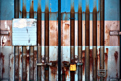Rusty metal container door Stock Photo