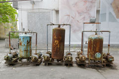 Rusty metal containers in redtory creative garden, guangzhou, china. Redtory creative garden is the predecessor of the food factory, mainly soviet-style royalty free stock images