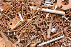 Rusty Metal Fasteners. An assortment of rusty metal fasteners and nails stock photos