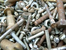 Rusty metal fasteners Royalty Free Stock Photos