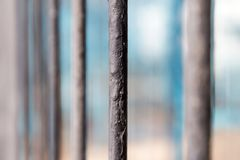 Rusty metal fence as a backdrop Royalty Free Stock Images