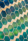 Rusty metal fence in a hex shape. Texture for background Royalty Free Stock Images