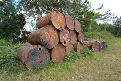 Rusty metal fuel tanks stacked Royalty Free Stock Image