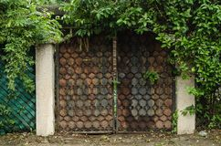 Rusty metal garage surrounded by green grass, brick wall with a wall of green leaves stock image