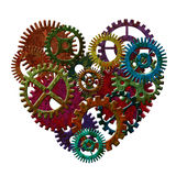 Rusty Metal Gears Forming Heart-Form-Illustration Stockfoto