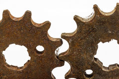 Rusty metal gears. Isolated on a white background Stock Images