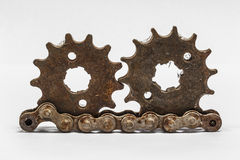 Rusty metal gears. Isolated on a white background Royalty Free Stock Photography