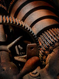 Rusty Metal and Gears. On an old wood lathe Royalty Free Stock Photography