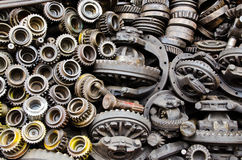 Rusty metal gears. Pile of oily and rusty metal gears Stock Photos