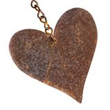 Rusty Metal Heart Shape Isolated on White Stock Photo