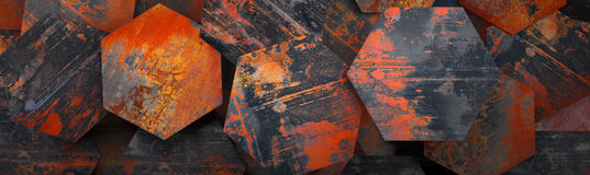Rusty Metal Hexagon Tiles Background (Website Head) - 3D Rendering Stock Photos