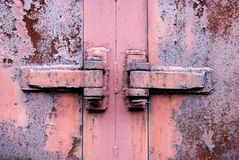 Rusty metal hinge Stock Photo
