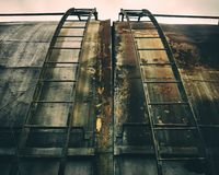 Abandoned decayed rusty metal building royalty free stock image
