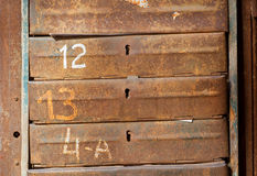 Rusty metal mailboxes Stock Photo