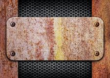 Rusty metal with a mesh texture iron background Royalty Free Stock Image