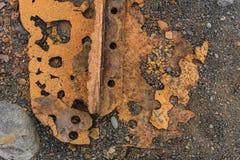 Rusty Metal op Rotsentextuur royalty-vrije stock foto