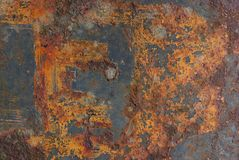 Rusty Metal and Paint. Abstract rusty texture background showing the march of time royalty free stock image