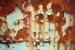 Rusty Metal Paint Texture Background. Rusting trolley car's metal with paint peeling for texture or background stock photography