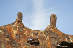 Rusty metal peaks of wreck of the Peter Iredale Royalty Free Stock Images