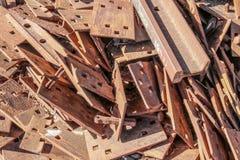 Rusty metal pieces in a locomotive junk yard stock photos