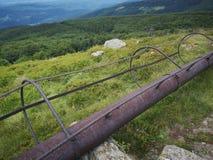 Rusty metal pipe. Macro detail of rusty metal pipe royalty free stock photography