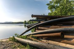 Rusty metal pipes in the forest Stock Photography