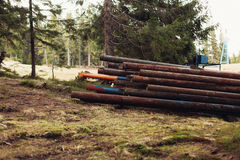 Rusty metal pipes in the forest closeup. Rusty metal pipes in the pine forest closeup Stock Photography
