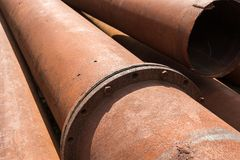 Rusty metal pipes stack Stock Photo