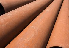 Rusty metal pipes stack Stock Photos