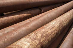 Rusty metal pipes stack Stock Images