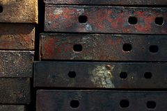 Rusty metal plate. With hold Stock Photo