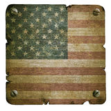 Rusty metal plate with american flag Stock Photo