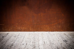 Rusty metal plate background with concrete floor Stock Photos