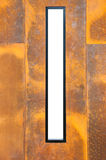 The rusty metal plate with frame as background Stock Photo