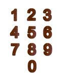 Rusty metal plate numbers. Number-shaped rusty metal plates. Isolated illustrations on white background Royalty Free Stock Photography