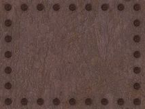 Rusty metal plate with rivets background. 3d stock illustration