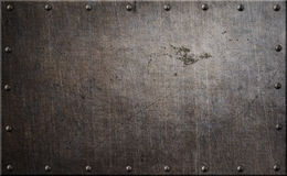 Rusty metal plate with rivets background 3d illustration. Dark stained metal plates with rivets seamless background royalty free stock image
