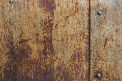 Rusty metal plate texture with bolts. Old metal background Stock Photo