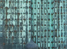Rusty metal riveted plates on doors of Nijo Castle in Kyoto. Nijo Castle also known as Second Palace, Ninomaru Palace, a flatland castle founded 1679, Kyoto Royalty Free Stock Images