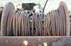 Rusty metal rope. A reel of rusty metal rope Royalty Free Stock Photo