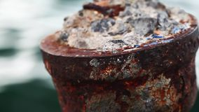 Rusty metal and sea. Video stock video