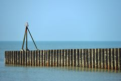 Sea wall. Rusty metal sea wall in Seaford, East Sussex Stock Photography