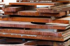 Rusty metal sheets. In yard Stock Photo