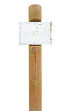 Rusty metal sign board signage, wooden signpost pole post. Rusty rusted metal sign board signage, wooden pole post copy space background, old aged weathered Stock Photos
