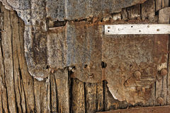 Rusty metal and stone wall backgrounds Royalty Free Stock Images