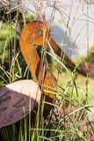 Rusty metal stork in the grass, design.  royalty free stock image