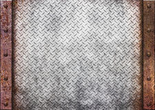 Rusty metal texture - grunge old texture metallic, 3d. Old rusty metal plate over comb grid or grille background, 3d, illustration Royalty Free Stock Image